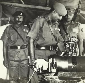 Brig. Reddy inspecting a gun emplacement