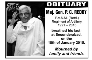 Obituary in the newspaper of 21 Jan 2015