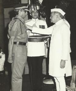 Maj. Gen. Reddy receiving the Param Vishisht Seva Medal from the President of India, Mr. F. A. Ahmed