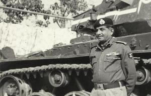 Maj. Gen. Reddy in front of a captured tank  after the liberation of Bangladesh